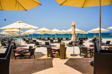 Dubai. Summer 2016. The Persian Gulf with the line of the beach from the Fairmont Ajman Hotel.