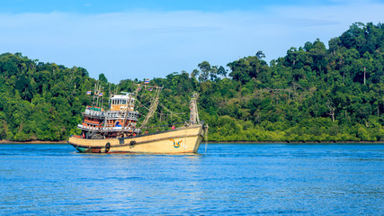 Fishing boat in the Andaman sea. Phuket. Thailand.