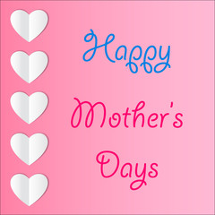 Mother's Day card with paper heart and wishes. Vector.