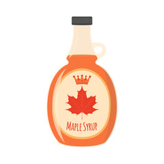 Maple syrup. Ingredient for waffles, pancakes, breakfast. Cartoon flat style.