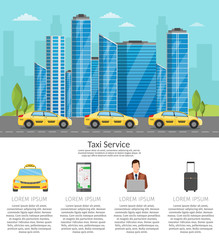 Taxi driver Call with smartphone service background the city flat style illustration background