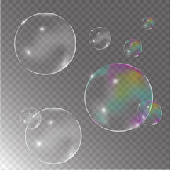 Soap colorful bubbles realistic transparent and background vector 3d set