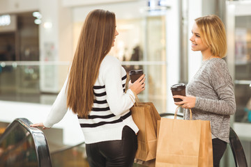 Beautiful female friends having coffee while shopping at the mall
