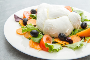 fresh italian mozzarella with mixed salad