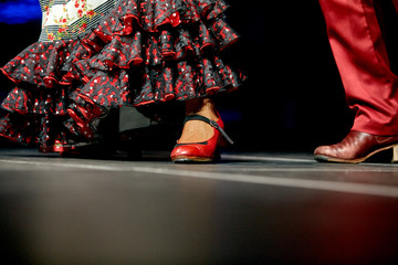 Woman and man legs dance flamenco skirt and shoes for print