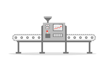 Isolated Conveyor belt in flat design. Factory production-vector illustration. Production concept.