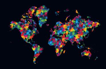 Decorative world map modern geometric pattern on dark background
