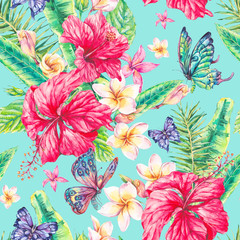 Watercolor vintage floral tropical seamless pattern