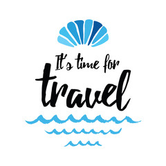Sea shell summer time marine vector hand drawn template phrase time to travel