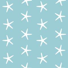 sea stars ocean starfish on a blue background pattern seamless vector