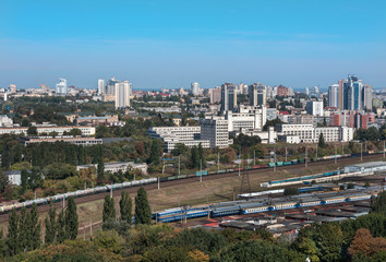 Kiev, Ukraine, picturesque view of the railway junction, the Polytechnic Institute and the residential area from a bird's eye view.