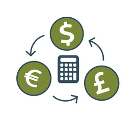 Currency exchange icons – Dollar, Euro, Pound with calculator.