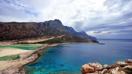 Panoramic View of Northern Geroskinos Peak and The Balos Beach, Island of Crete, 4K Ultra HD