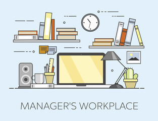 Modern workplace in office. Cozy home office interior. Managre s workplace