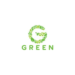 Green linitial logo with leaf texture template designs