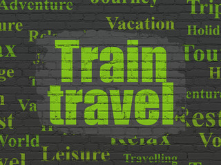 Travel concept: Train Travel on wall background