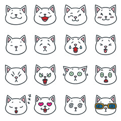 Funny white cat faces. Set of outline cat emoticon isolated on white background. Vector illustration