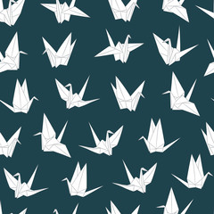 Seamless vector pattern with paper cranes. Origami bird figure. Japanese symbol of happiness and joy