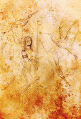 sketch of young maiden in long dress with phoenix bird. Color effect.