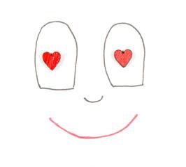 лицо смайлика из сердечек глаза тоже сердца красные