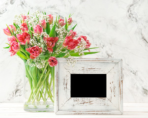 Tulip flowers white wooden picture frame