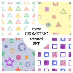 Set of seamless vector geometrical patterns with different geometric figures, forms. pastel endless background with hand drawn textured geometric figures. Graphic vector illustration
