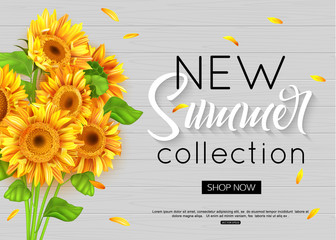Summer banner with realistic sunflower for online shopping, advertising actions, magazines and websites. Vector illustration.