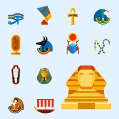 Set of vector flat design egypt travel icons culture ancient elements illustration.