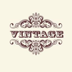 Vintage styled sign. With floral elements. Elegant element for invitation card design.
