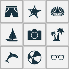 Season Icons Set. Collection Of Ship, Bead, Video And Other Elements. Also Includes Symbols Such As Palms, Photo, Underwear.
