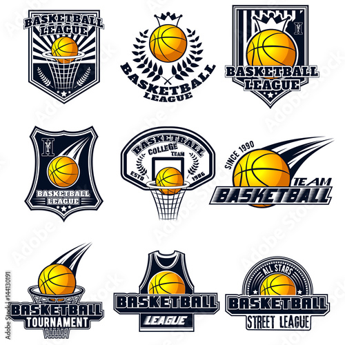 photo about Printable College Logos identify Vector fixed basketball trademarks for print, world wide web, style