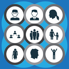 Human Icons Set. Collection Of Scientist, Work Man, Happy And Other Elements. Also Includes Symbols Such As Work, Gentlewoman, Female.