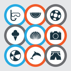 Sun Icons Set. Collection Of Dinghy, Mammal, Conch And Other Elements. Also Includes Symbols Such As Boat, Video, Ice.