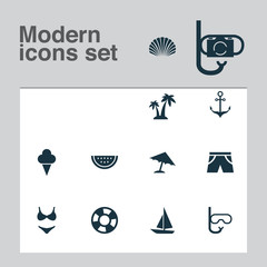 Sun Icons Set. Collection Of Melon, Bikini, Conch And Other Elements. Also Includes Symbols Such As Armature, Palms, Camera.