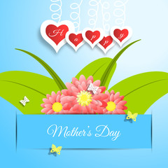 Happy Mother's Day vector paper craft on the gradient blue background with red flowers and green leafs insert in the blue paper pocket, hearts, butterflies and text.
