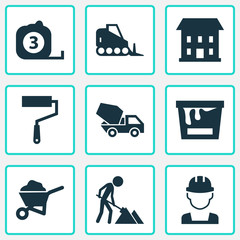 Construction Icons Set. Collection Of Paint Bucket, Maintenance, Carry Cart And Other Elements. Also Includes Symbols Such As Worker, Builder, House.