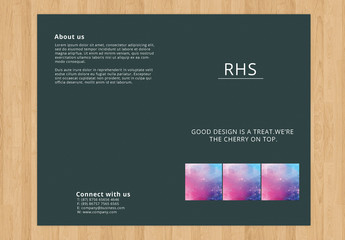 Bifold Brochure Layout with Dark Background 1