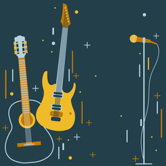 Background with guitar and microphone. Vector illustration