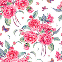 Watercolor seamless pattern with pink camellia