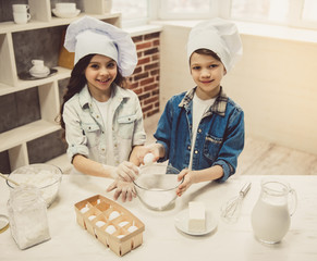 Children baking in kitchen