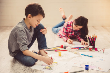 Children drawing at home
