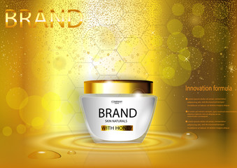 eps 10 vector advertising poster of revolutionary formula hand or face cream with honeycombs on golden background with bokeh effect. Realistic brand cosmetic tube package, cosmetic web, print banner