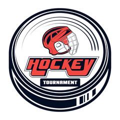 Vector hockey logo for print design, advertisement, web on white background