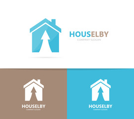 Vector of real estate and arrow up logo combination. House and growth symbol or icon. Unique home and rent logotype design template.