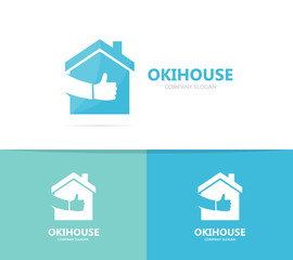 Vector of real estate and like logo combination. House and best symbol or icon. Unique home and rent logotype design template.