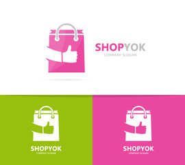 Vector of shop and like logo combination. Sale and best symbol or icon. Unique bag and online logotype design template.