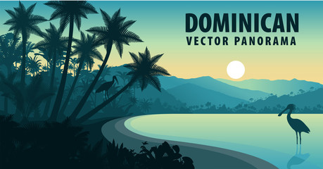 vector panorama of Dominican Republic with beach and spoonbill