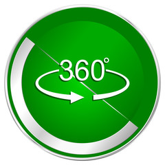 Panorama 360 silver metallic border green web icon for mobile apps and internet.