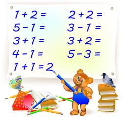 Educational page with exercises for children on addition and subtraction. Help the bear to solve examples and write the numbers. Developing skills for counting. Vector image.