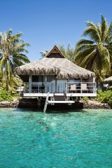 Hut on the ocean in Tahiti